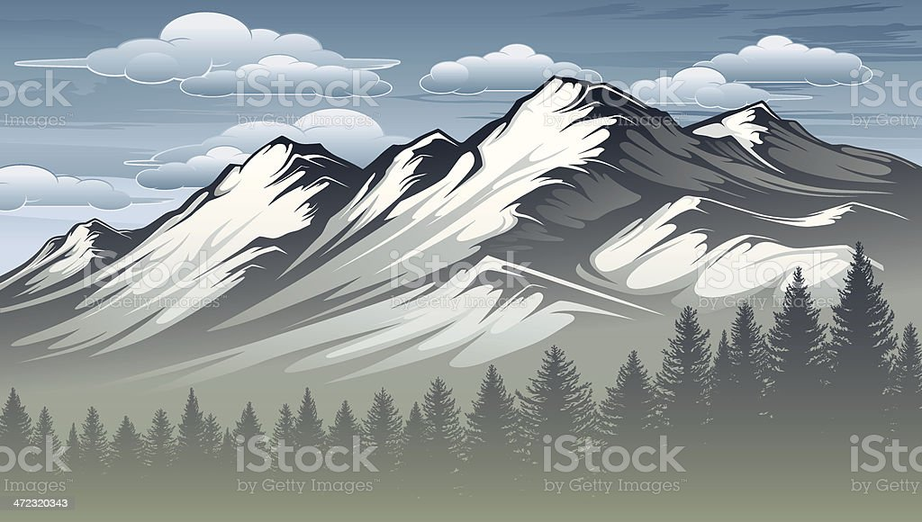 Majestic Mountain Range vector art illustration