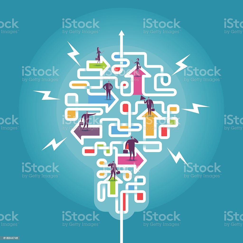 Make different direction become Idea vector art illustration