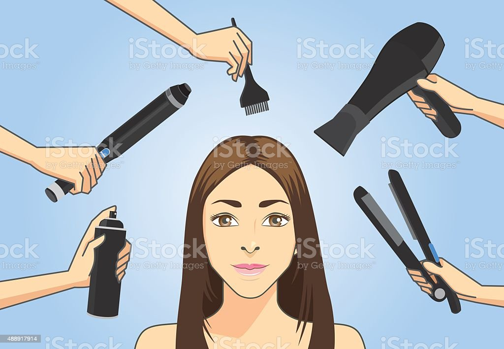 Make hair style with many hair styling tools vector art illustration