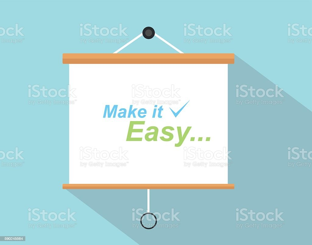make it easy quotes with checklist sign written on the vector art illustration
