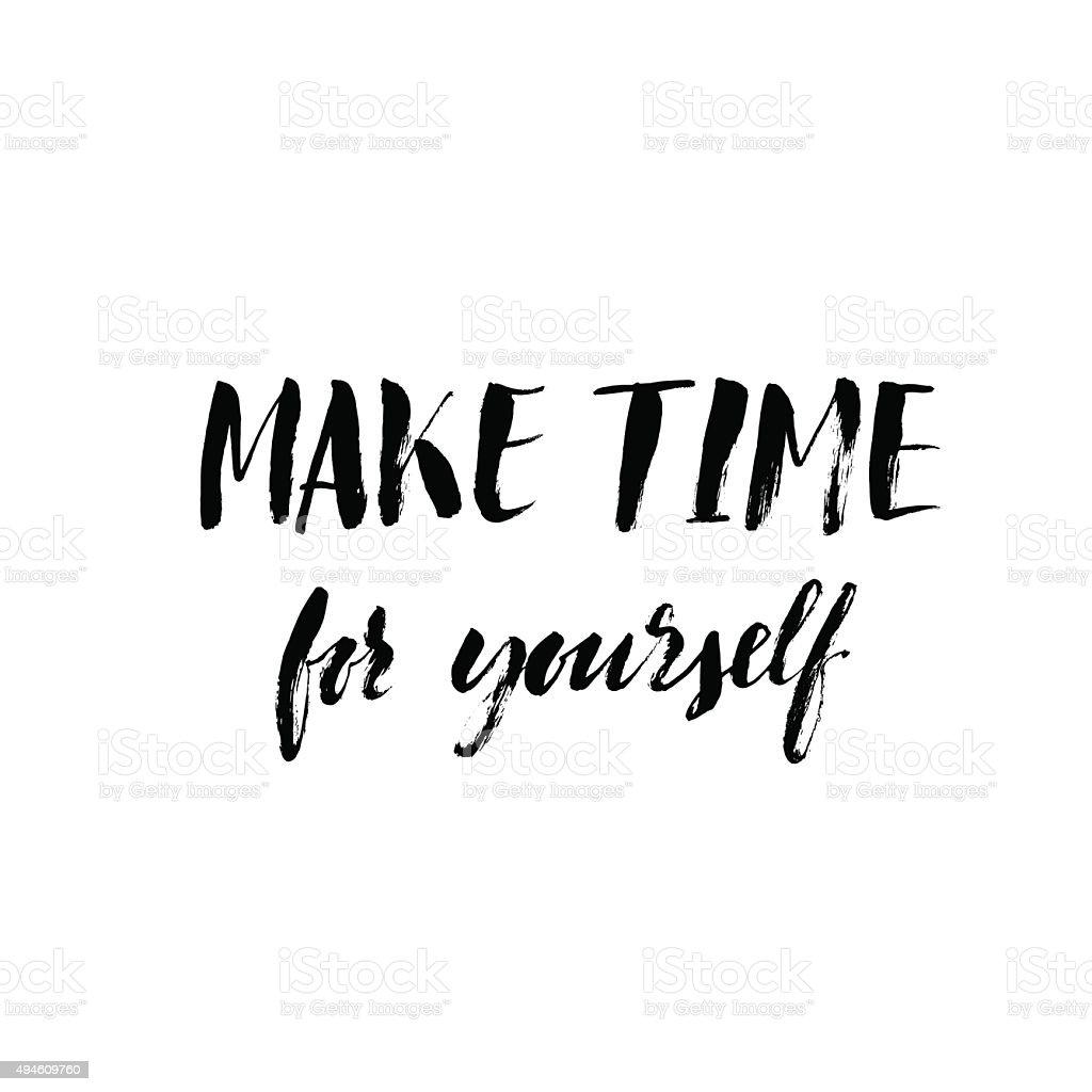 Make time for yourself card. vector art illustration