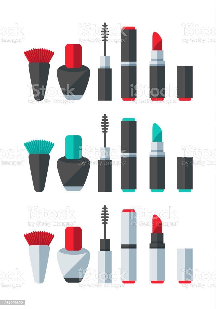 Make Up Accessories Set vector art illustration