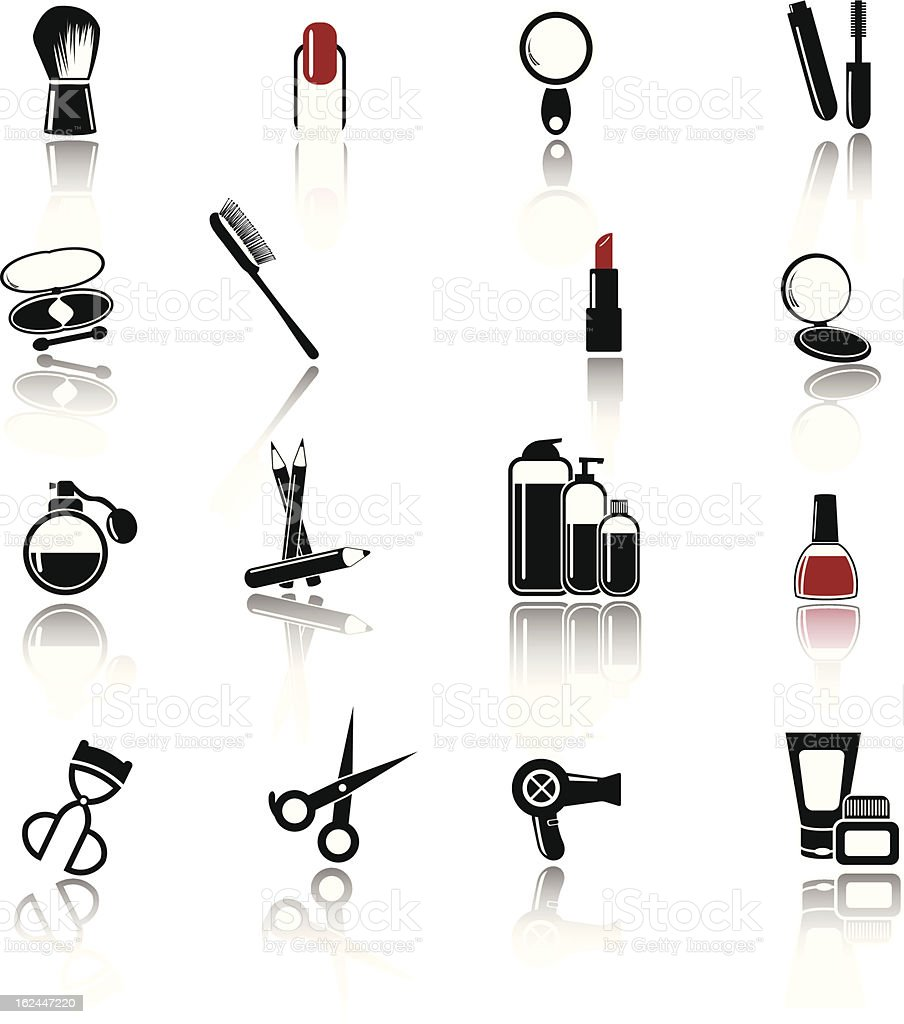 Make up and Beauty icons vector art illustration