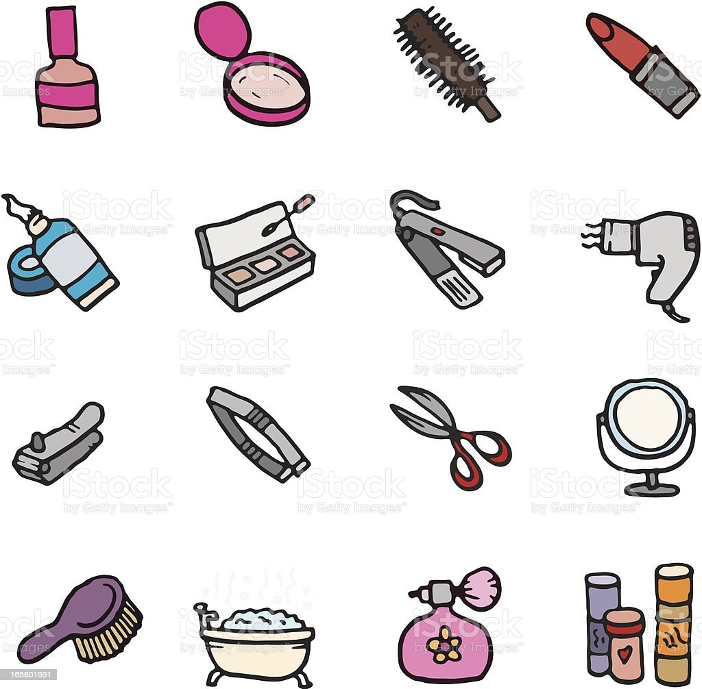 Make up and manicure doodle icon set vector art illustration