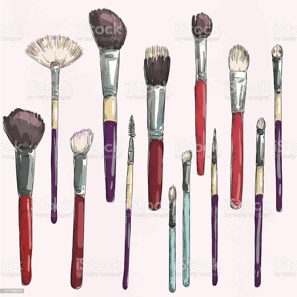 Make up brushes collection. Fashion illustration. Vector sketch. vector art illustration