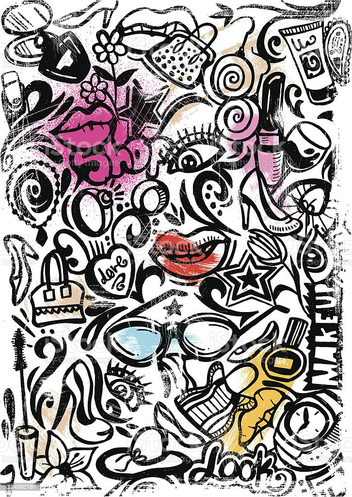 make up doodle royalty-free stock vector art