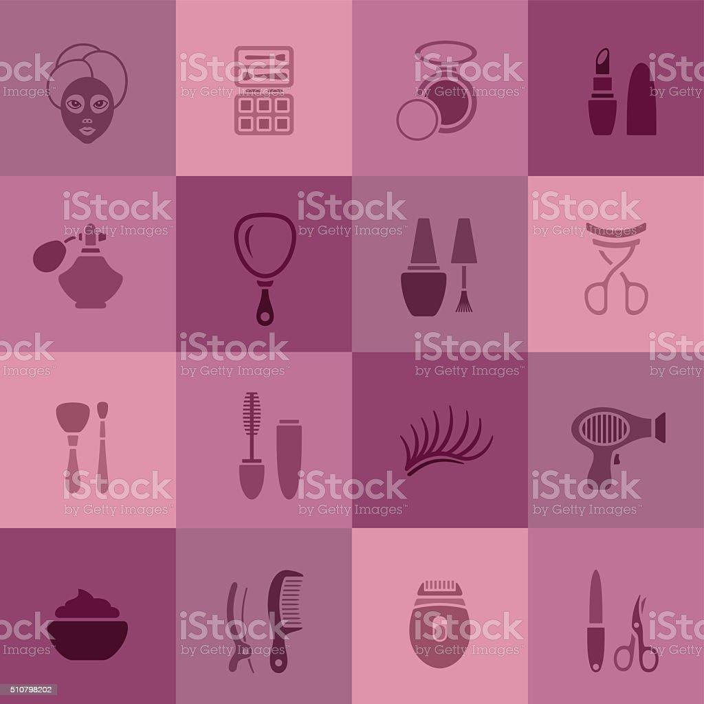 Make Up Icons vector art illustration