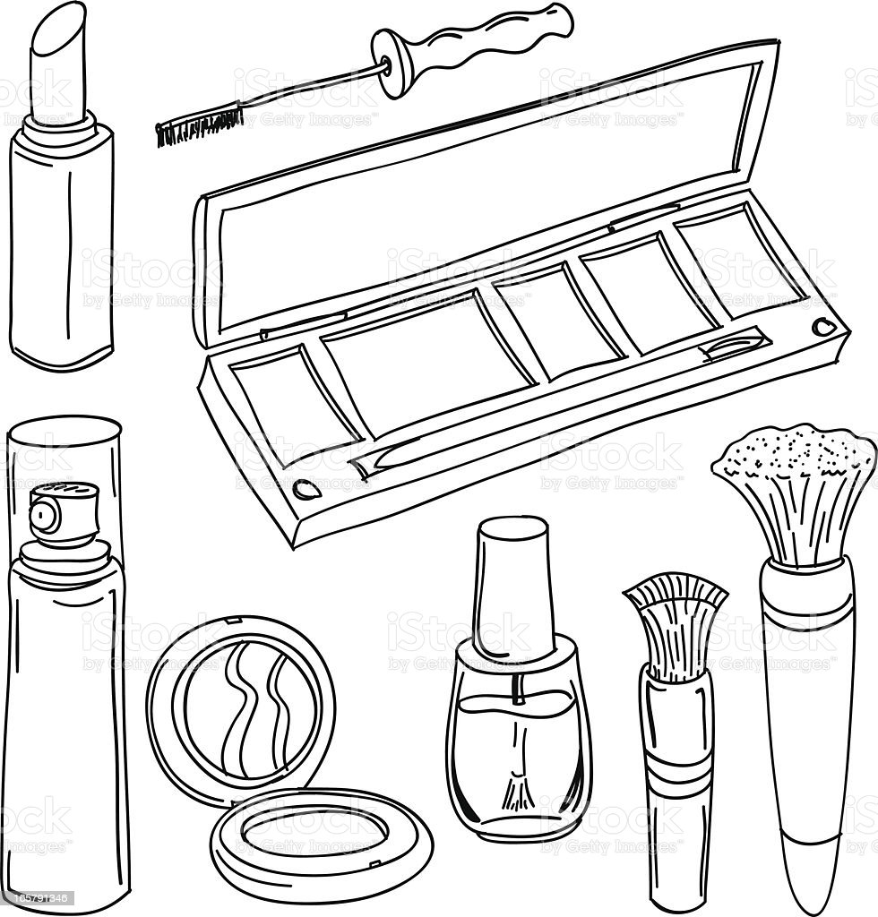 Make up tools in black and white royalty-free stock vector art