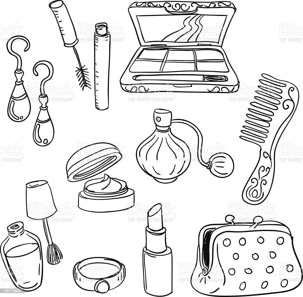 make up tools in black and white vector art illustration