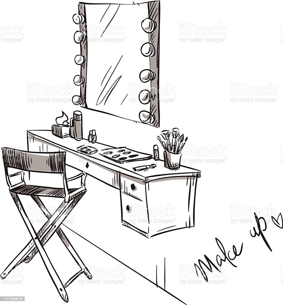 Make up. Vanity table and folding chair illustration. vector art illustration