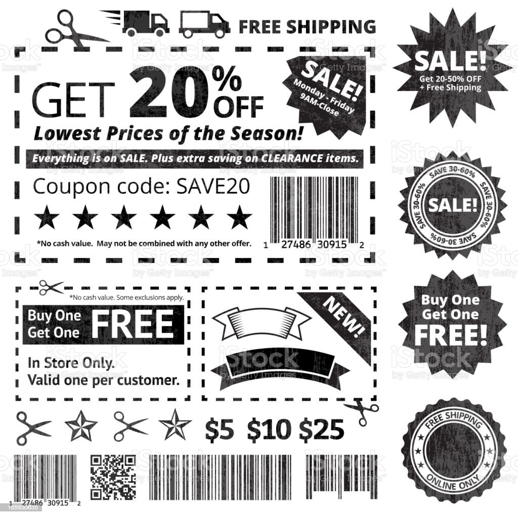 Make Your Own Coupon Sale black and white icon set vector art illustration