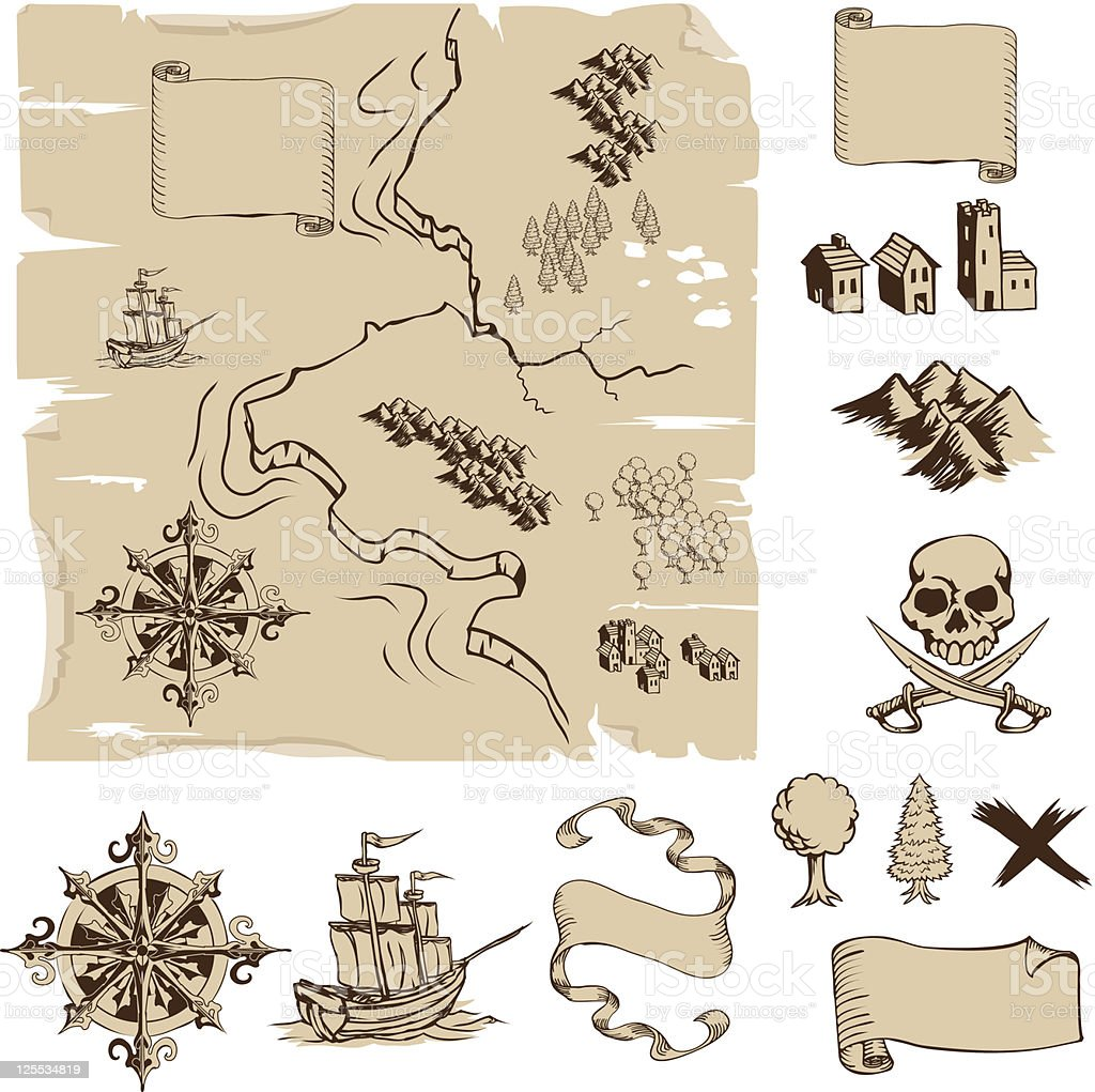 Make your own fantasy or treasure maps vector art illustration