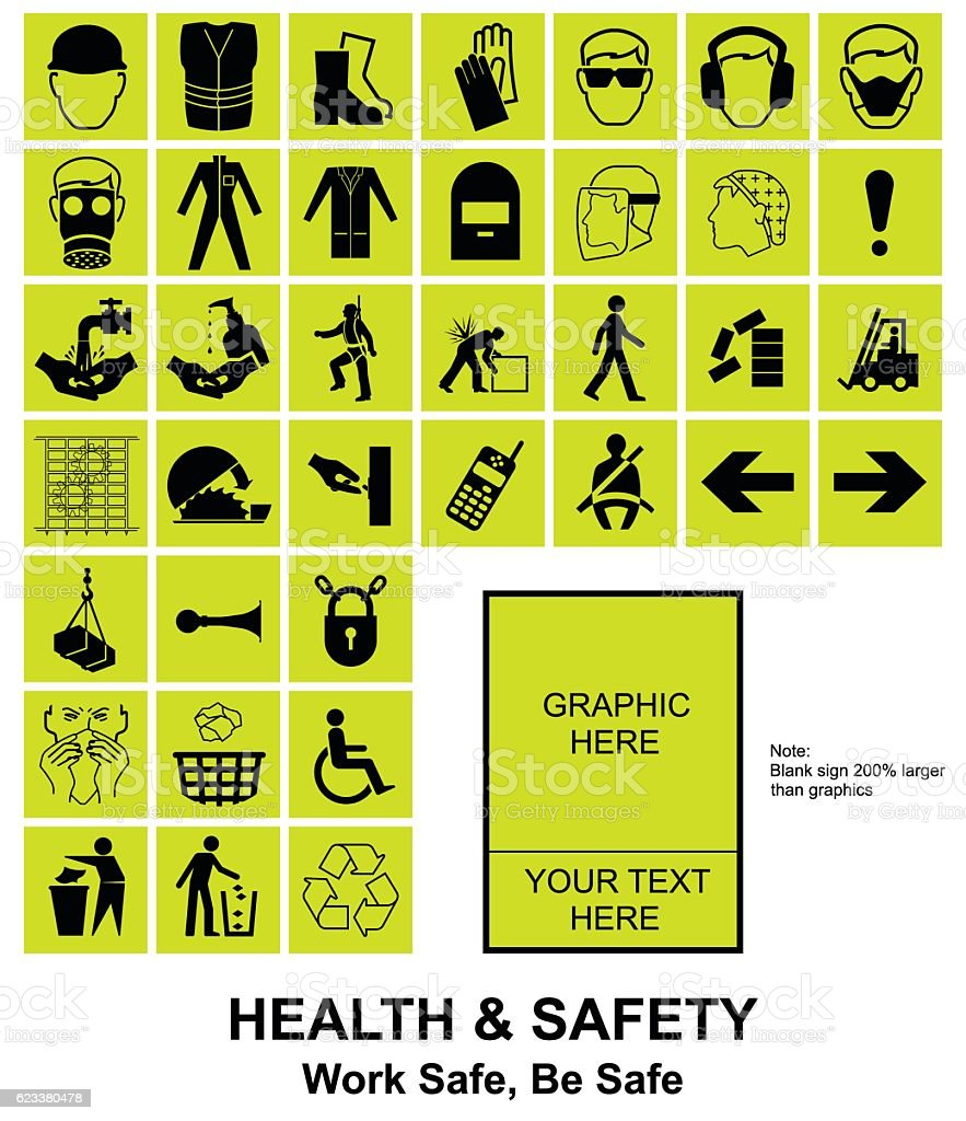 Make your own Health and Safety signs vector art illustration