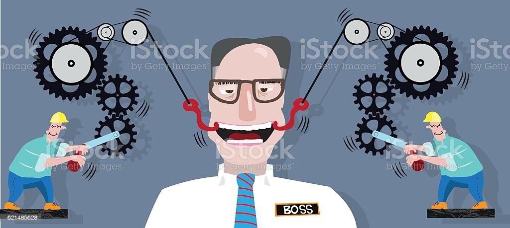 Make-boss-smile machine vector art illustration