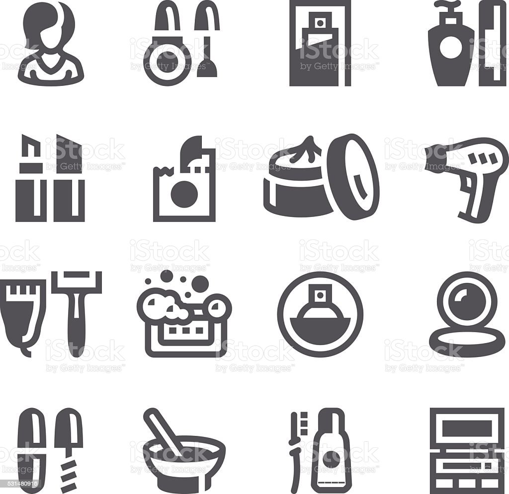Makeup and Cosmetics icons vector art illustration