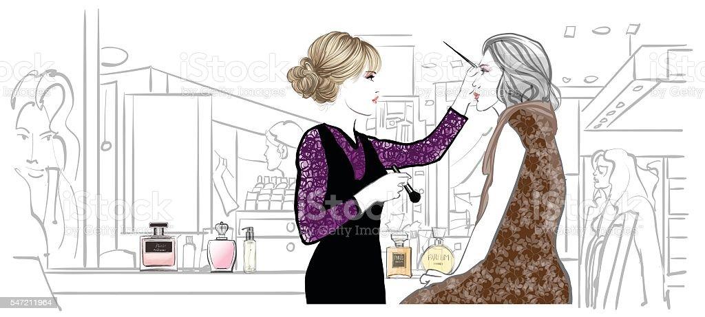 Make-up artist applying treatment vector art illustration