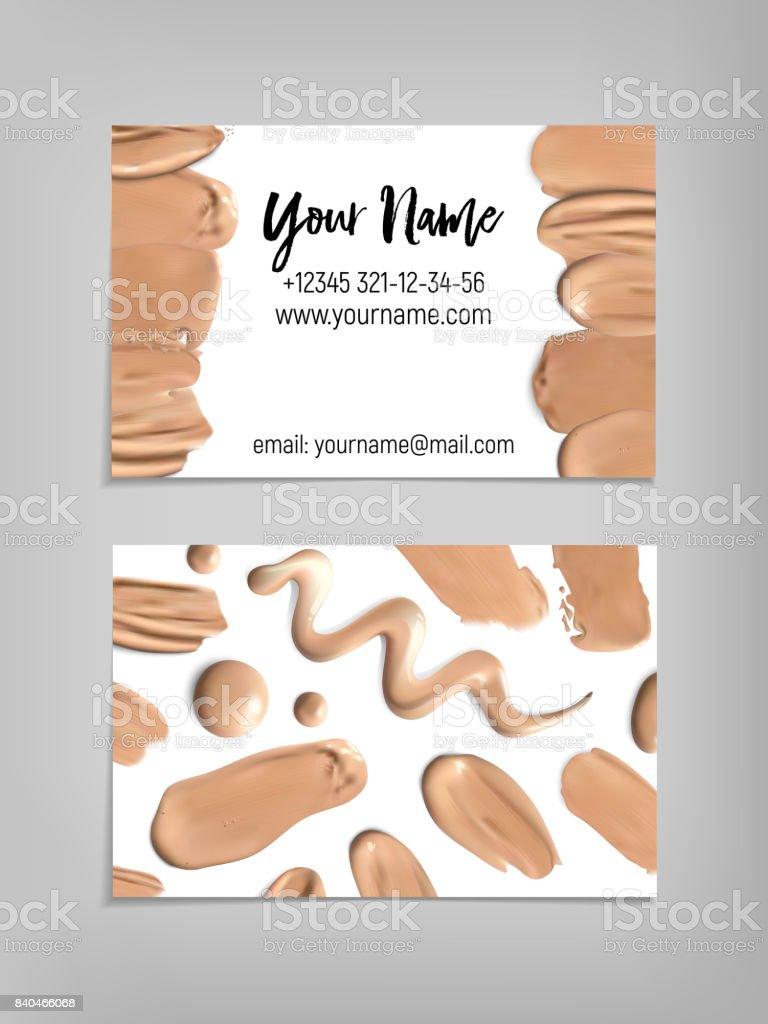 Makeup artist business card. Vector template vector art illustration