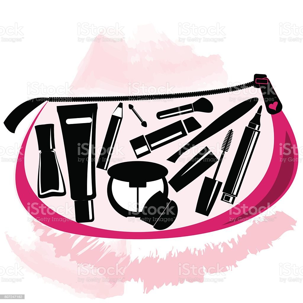 Makeup bag with beautician tools inside vector art illustration