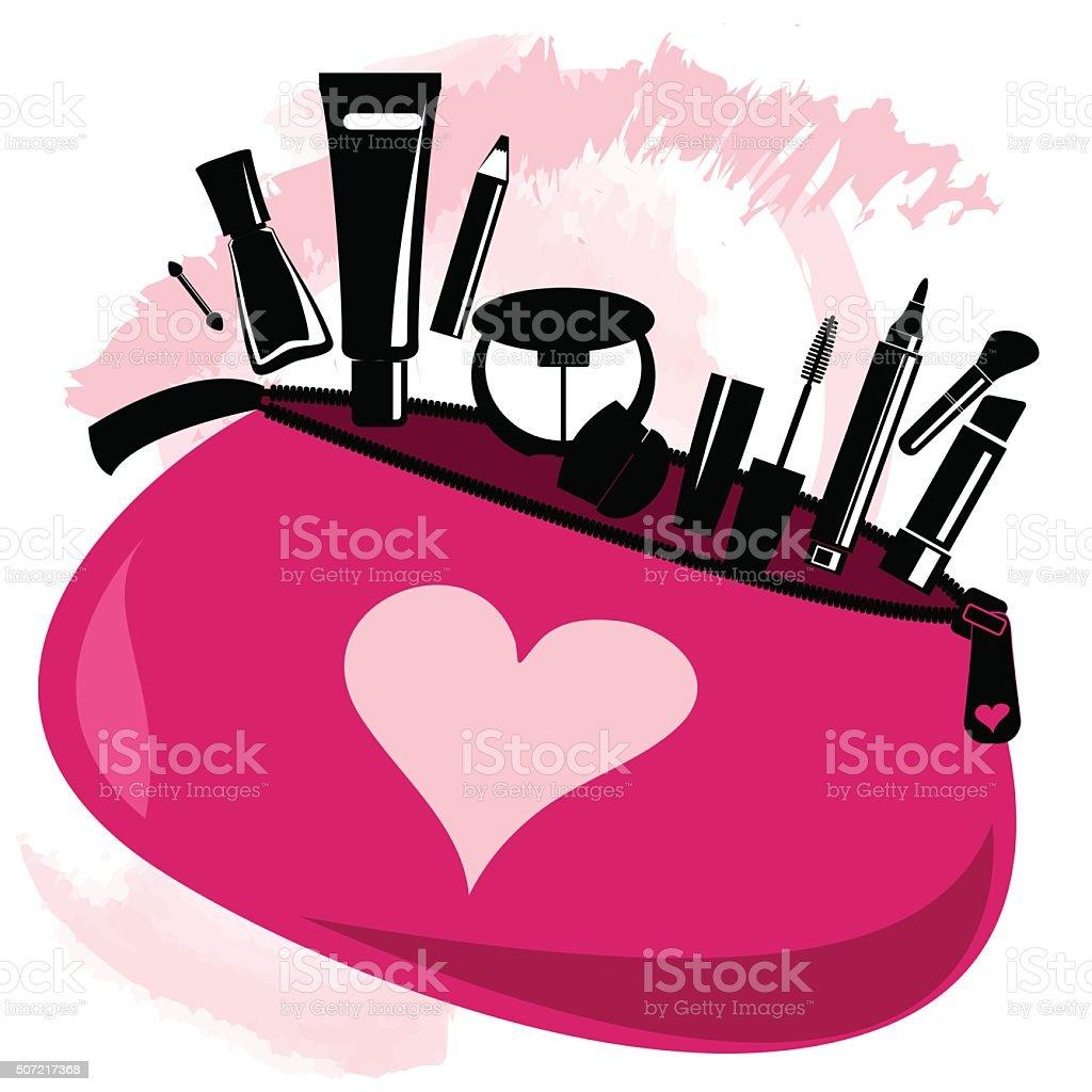 Makeup bag with beautician tools vector art illustration