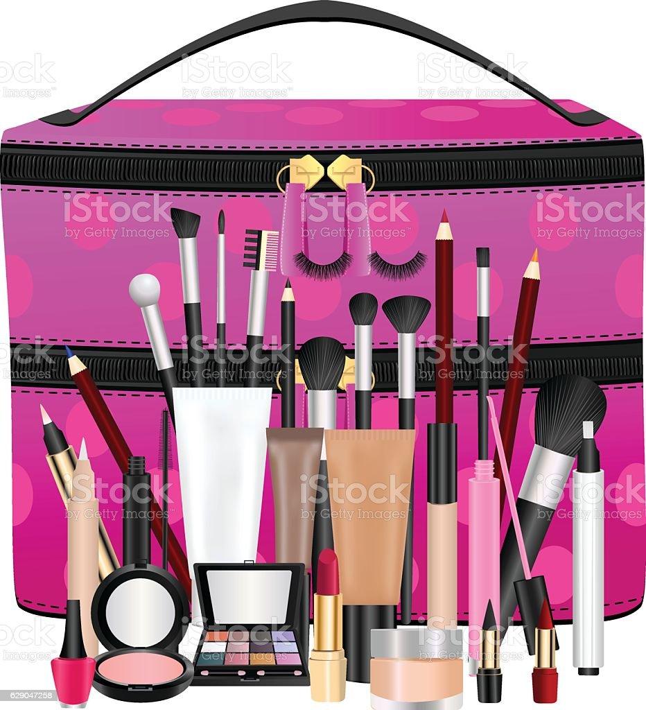 Makeup Bag With Cosmetics vector art illustration