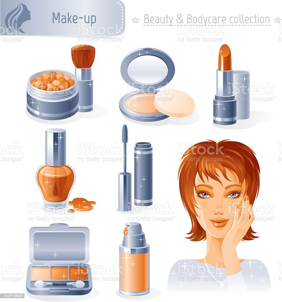Make-up beauty and cosmetics icon set with young adult woman vector art illustration