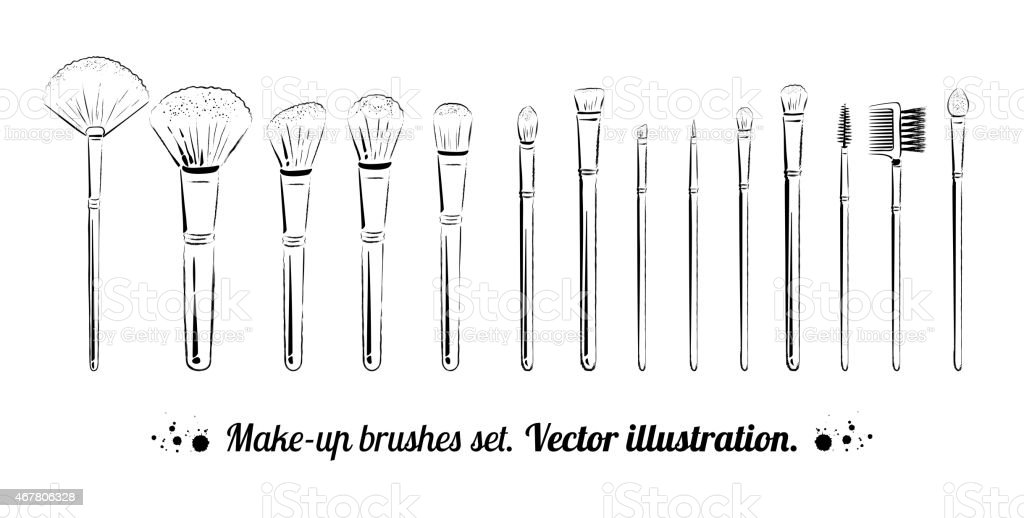 Makeup brushes kit. vector art illustration