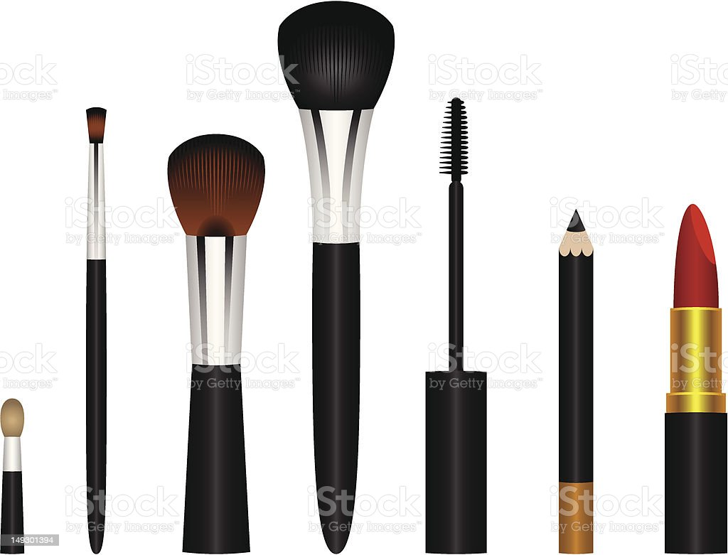 Makeup Brushes Vector Illustrations royalty-free stock vector art
