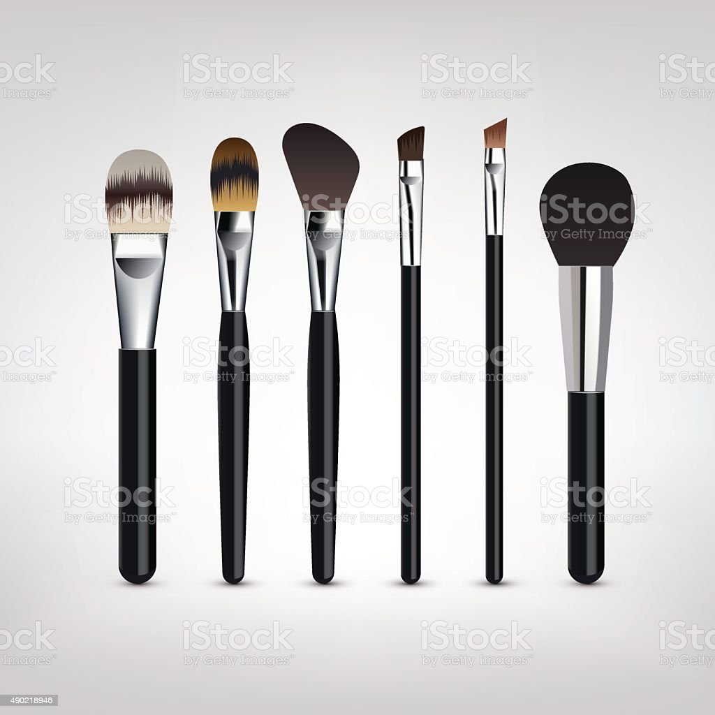 Make-up brushes vector vector art illustration