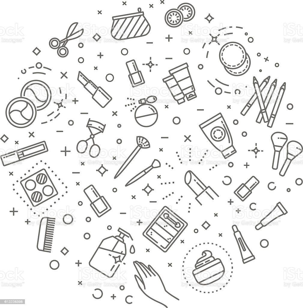 makeup concept illustration, thin line design vector art illustration