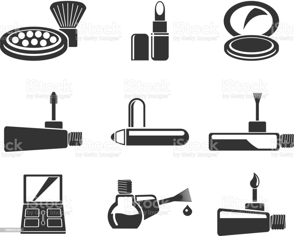make-up products icons vector art illustration