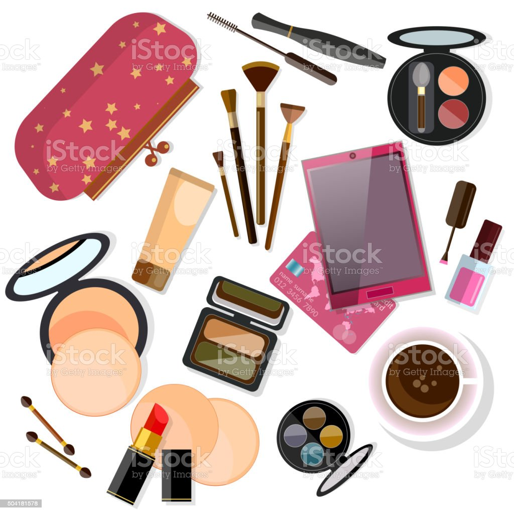 Make-up products isolated on white vector art illustration