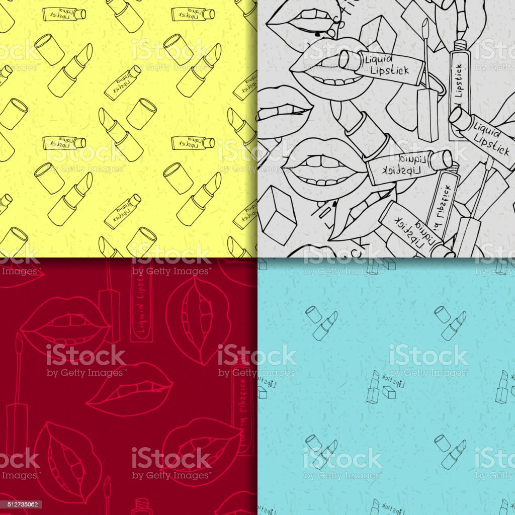 Makeup seamless pattern set vector art illustration