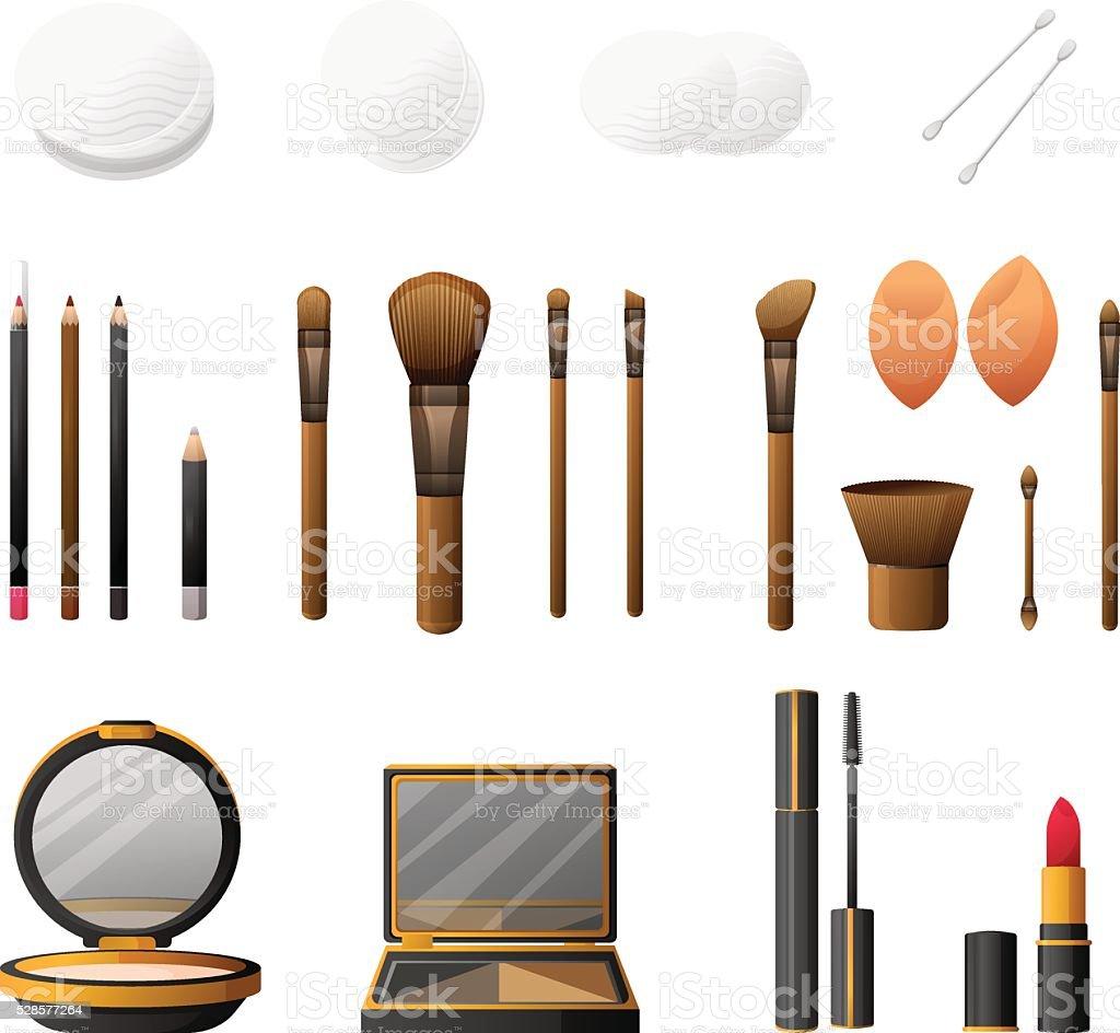 Makeup set. Cosmetics makeup and makeup accessories. vector art illustration