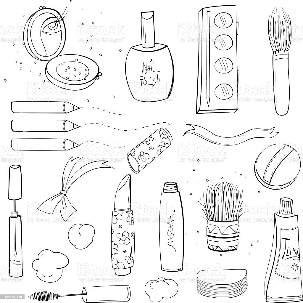 Makeup Set Sketch Drawing royalty-free stock vector art