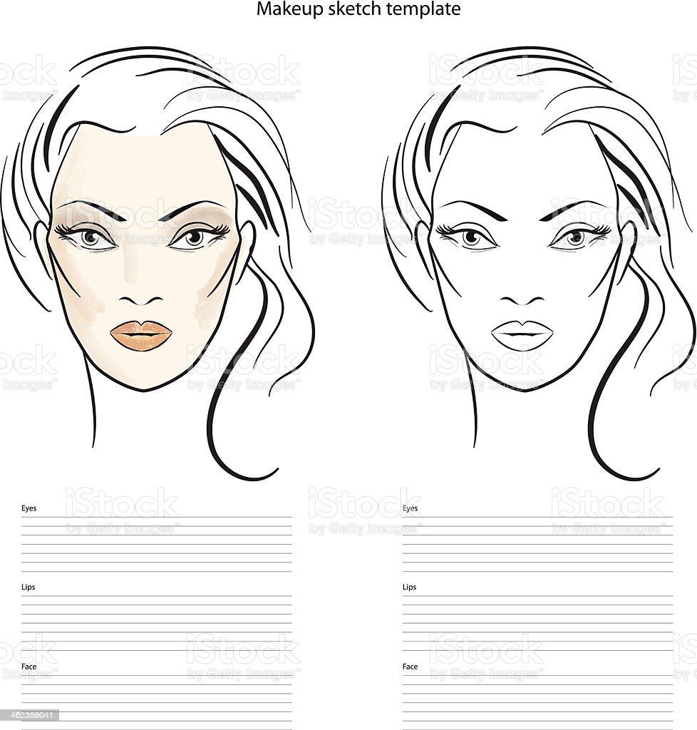 Makeup sketch template, beauty face girl. Vector illustration vector art illustration