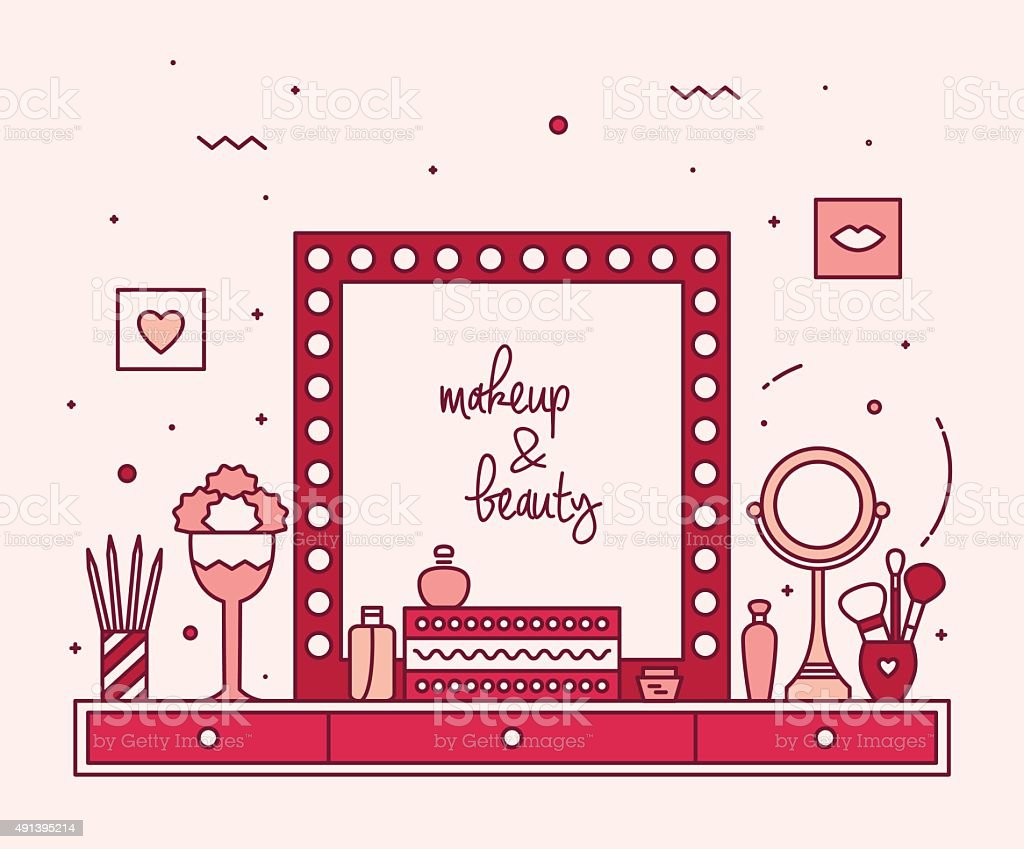 Makeup table vanity linear mirror dressing vector vector art illustration