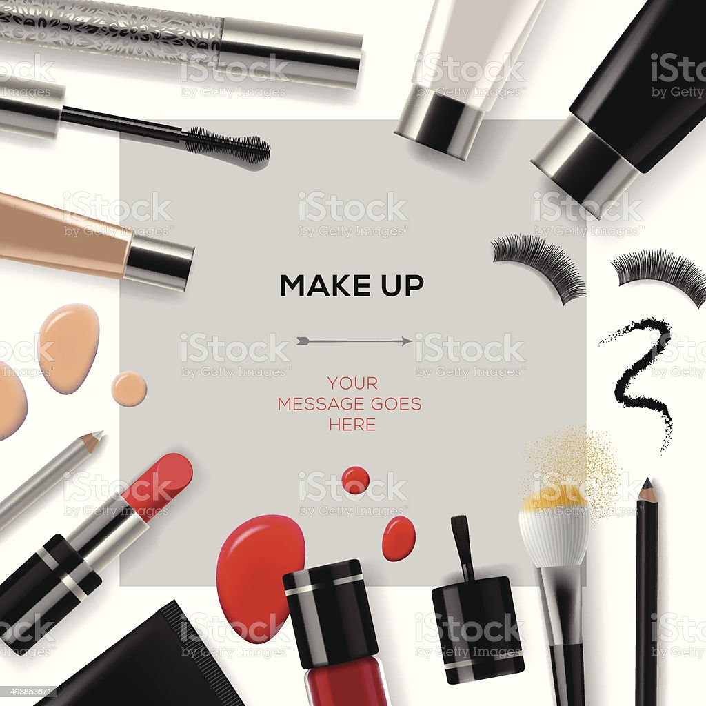 Makeup template with collection of make up cosmetics vector art illustration