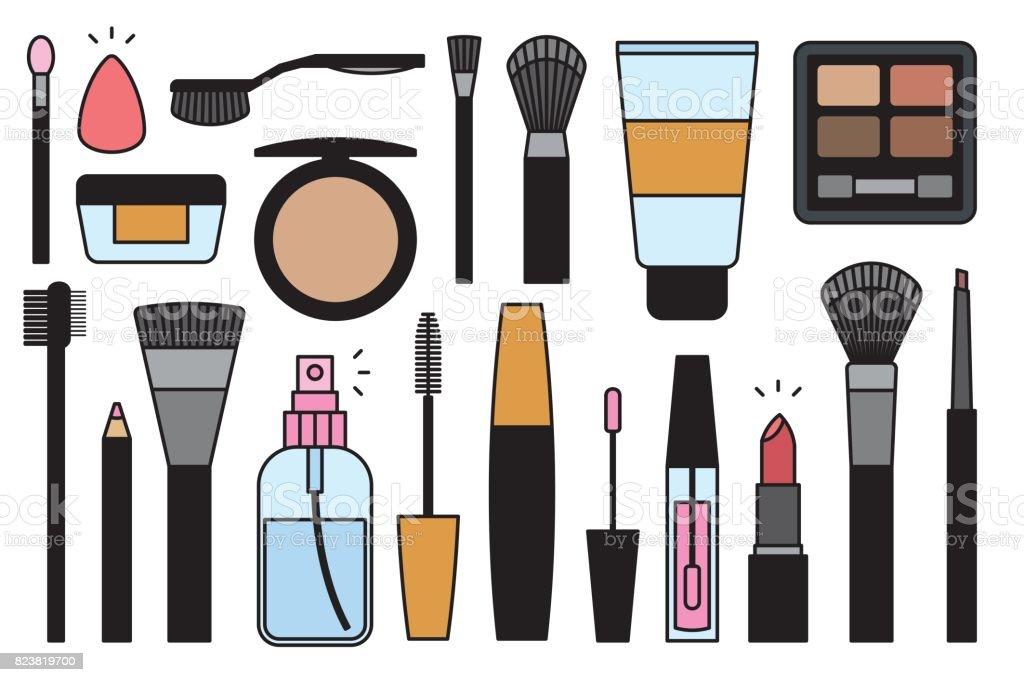 Makeup tools Icons vector art illustration