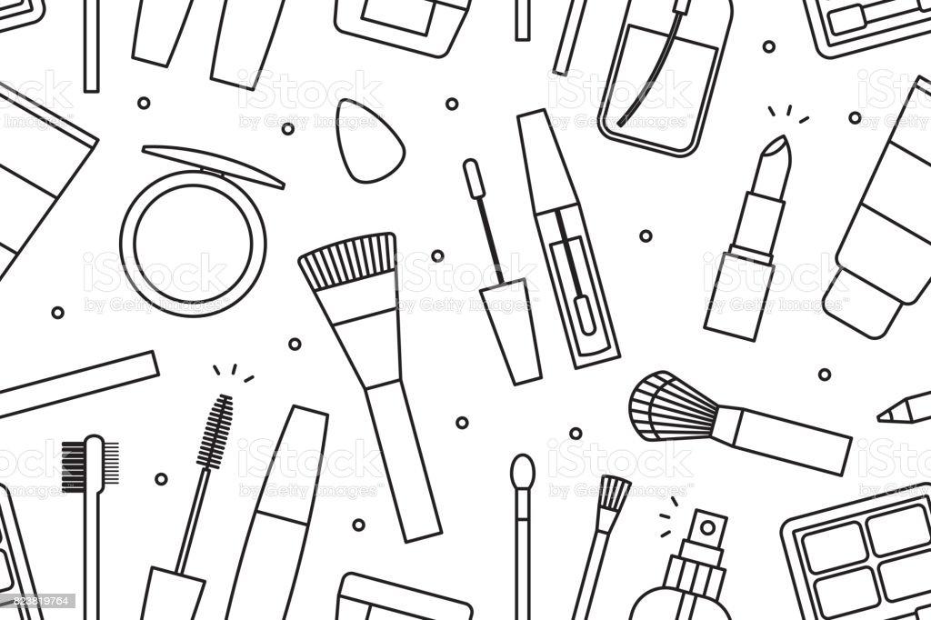 Makeup tools seamless pattern vector art illustration