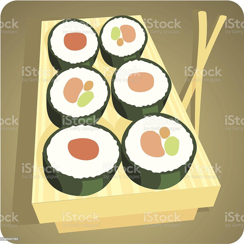 Maki Sushi in Retro Cartoon Style royalty-free stock vector art