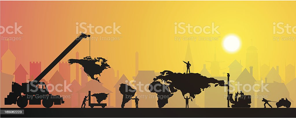 Making a Small World in Town royalty-free stock vector art