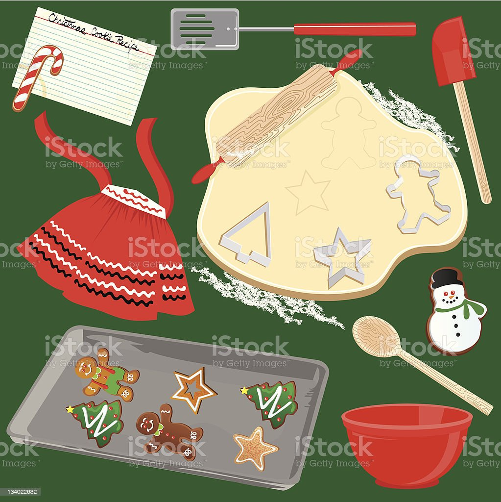 Making and Baking Christmas Cookies vector art illustration