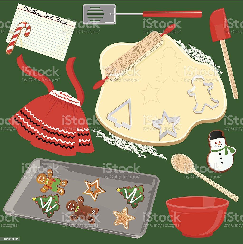 Making and Baking Christmas Cookies vector art illustration