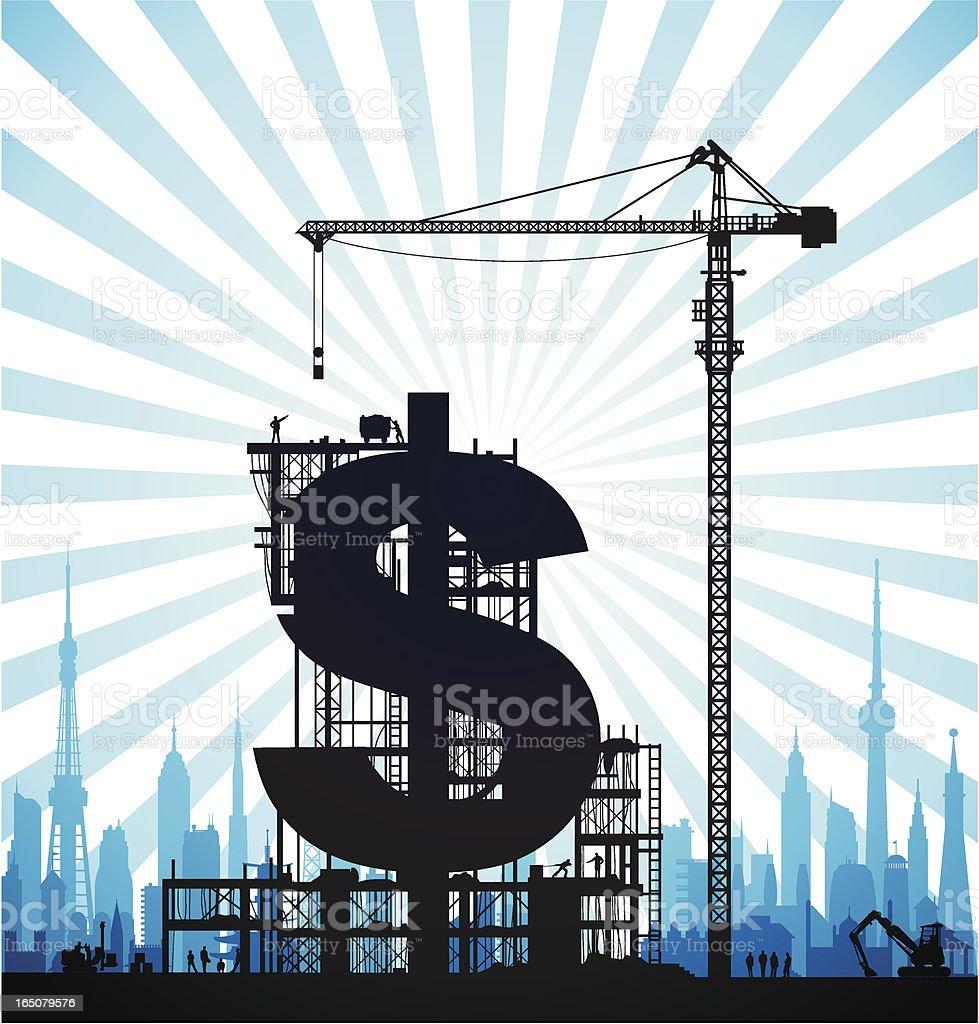 Making Blue Dollars royalty-free stock vector art