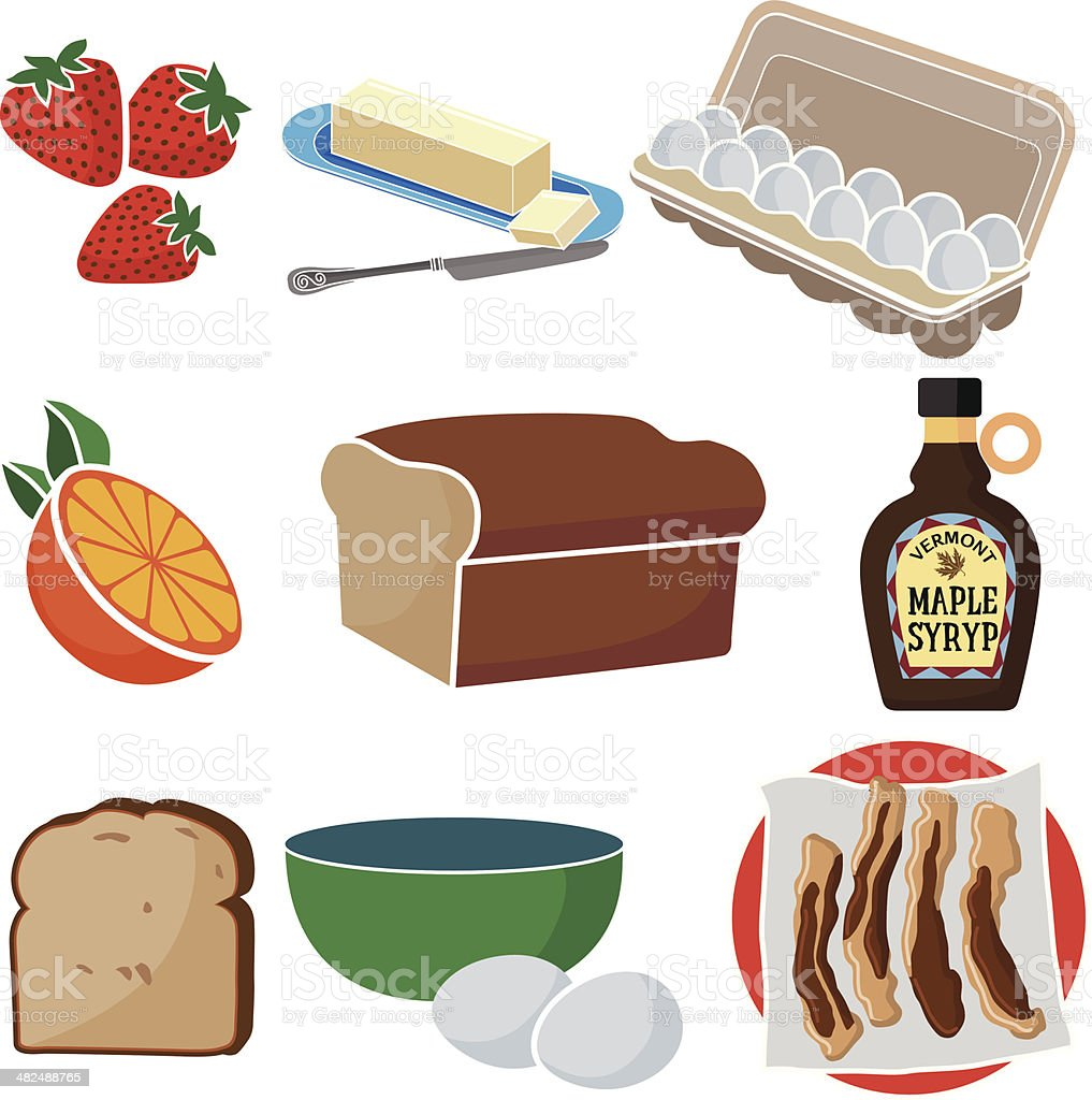 making french toast for breakfast vector art illustration