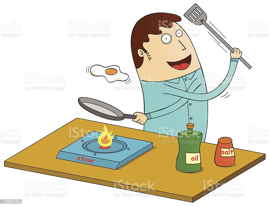 making omelet royalty-free stock vector art