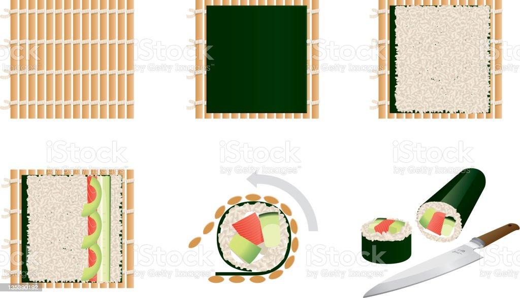 Making sushi - steps vector art illustration