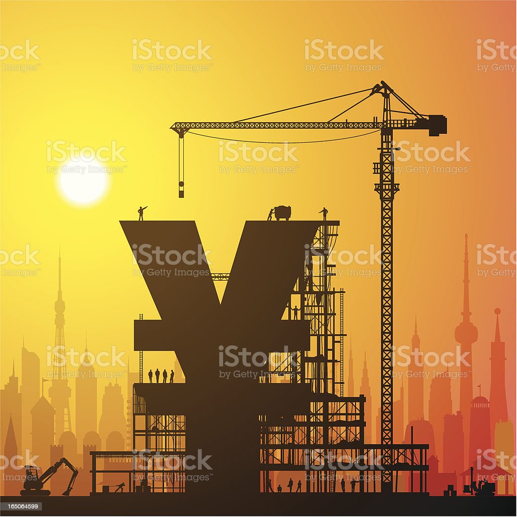 Making Yen or Yuan in the City royalty-free stock vector art