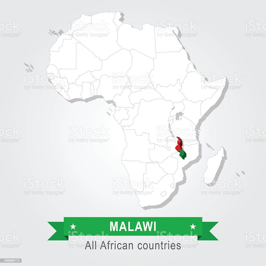 Malawi. All the countries of Africa. Flag version. vector art illustration