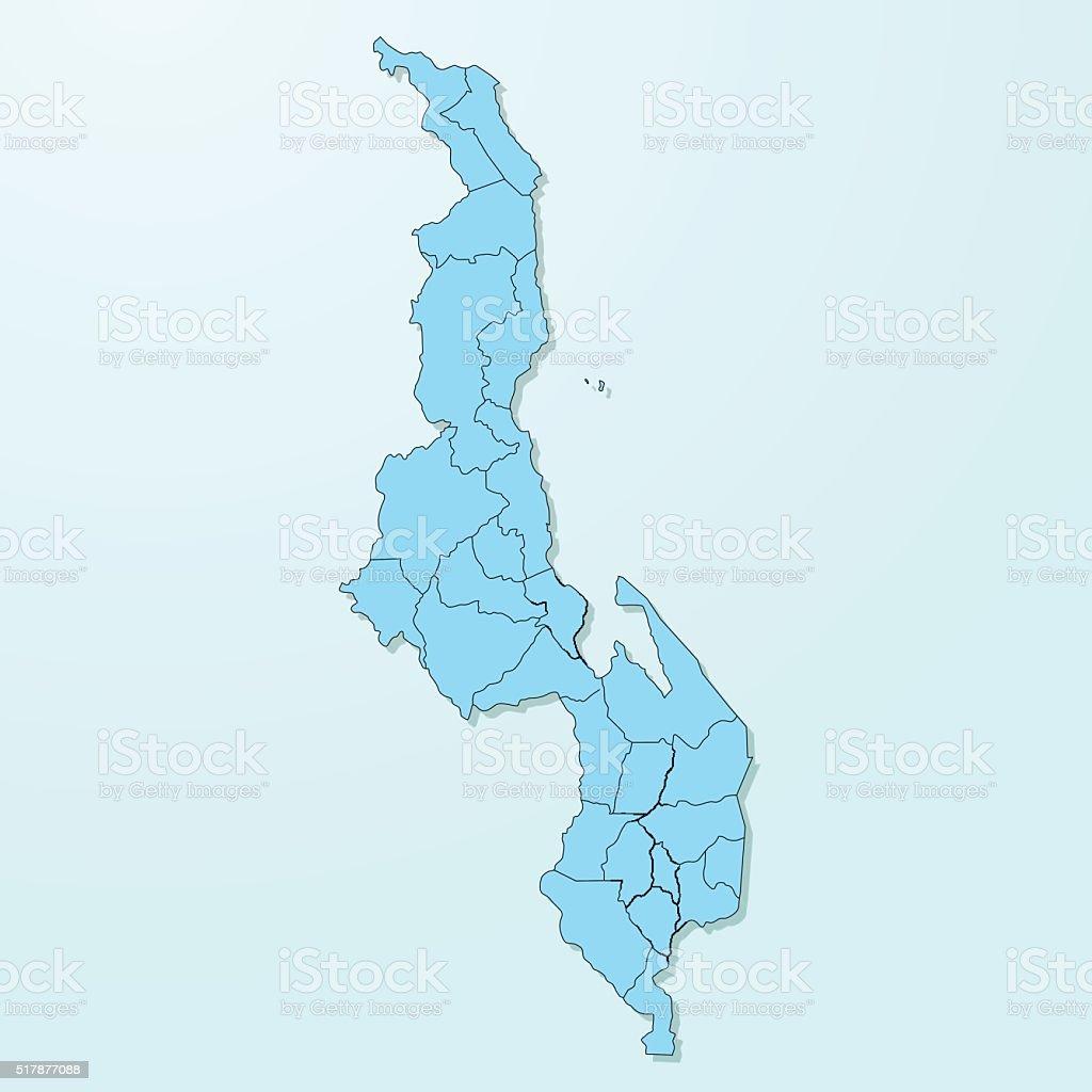 Malawi blue map on degraded background vector vector art illustration